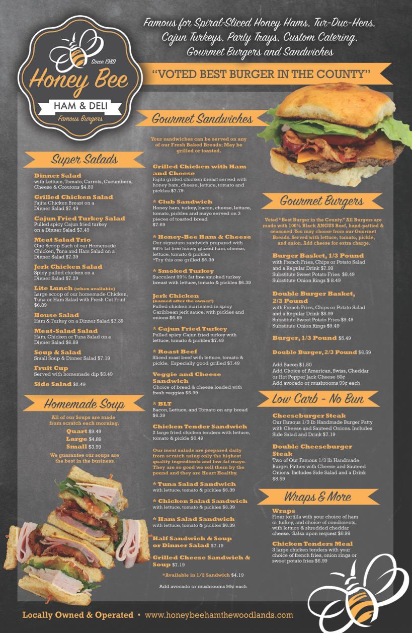 honey bee ham, menu, salads, sandwiches, wraps, soup, burgers, low carb