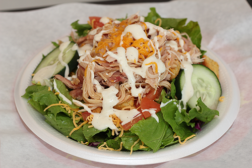 honey bee ham, salad with shredded chicken, cucumbers, cheese, and dressing