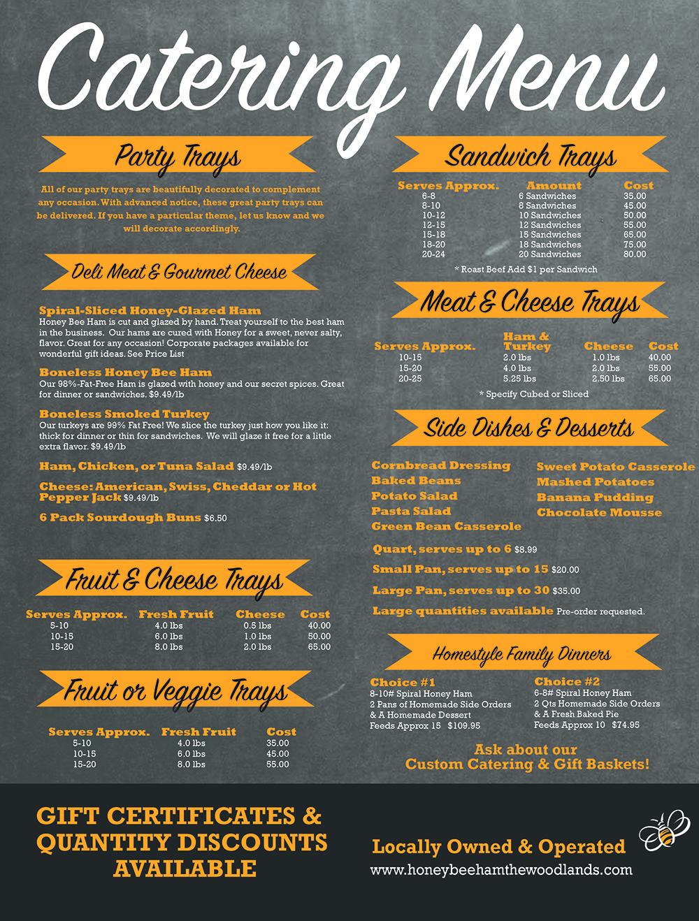 Honey Bee Ham catering menu
