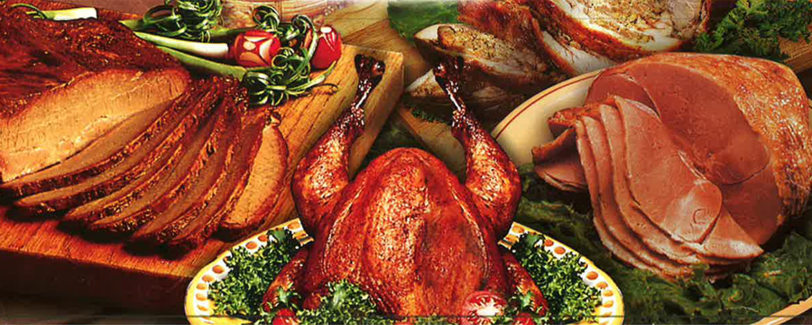 Honey Bee Ham table of hams, turkeys, and brisket