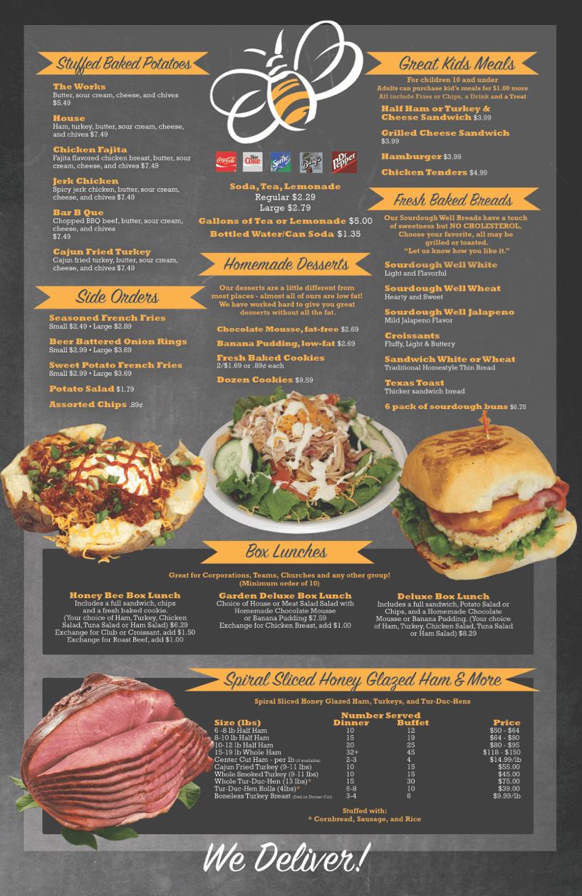 menu honey bee ham deli  woodlands texas catering turkeys burgers specials